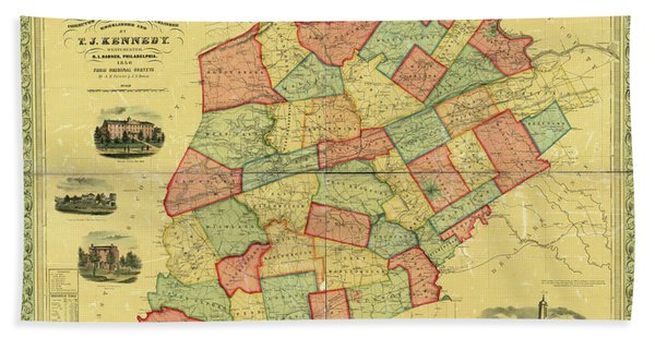 Chester County Pennsylvania Map 1856 Hand Towel