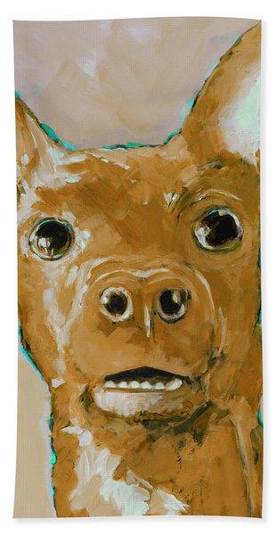 Chihuahua Dog Portrait Caramel Bath Towel