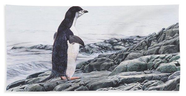 Bath Towel featuring the painting Chinstrap Penguin On A Rock By Alan M Hunt by Alan M Hunt