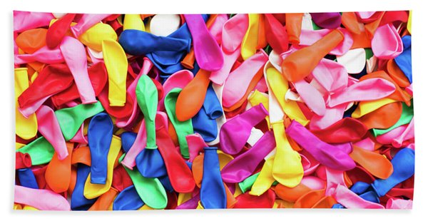 Close-up Of Many Colorful Children's Balloons, Background For Mo Hand Towel