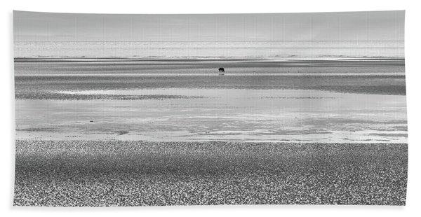 Coastal Brown Bear On  A Beach In Monochrome Hand Towel
