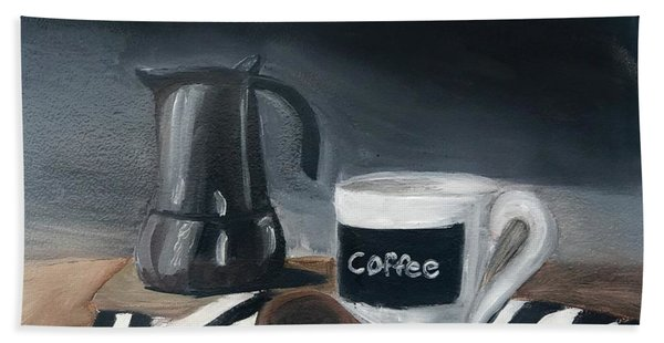 Bath Towel featuring the painting Coffee Time by Fe Jones