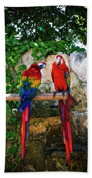 Colorful Parrots Bath Towel
