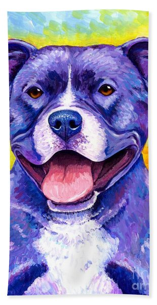 Colorful Pitbull Terrier Dog Hand Towel
