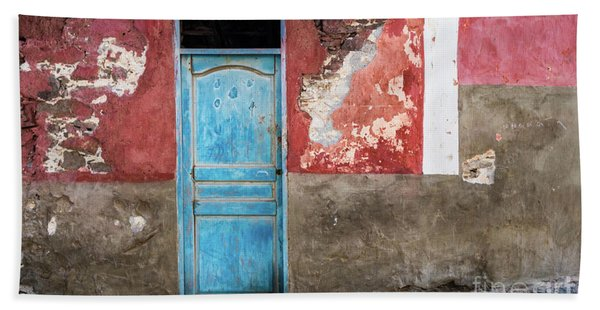 Colorful Wall With Blue Door Bath Towel