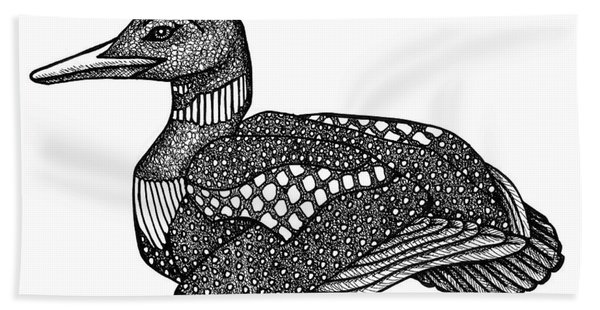 Bath Towel featuring the drawing Common Loon by Amy E Fraser