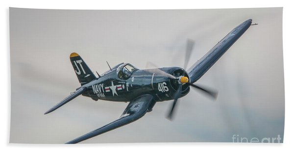 Bath Towel featuring the photograph Corsair Approach by Tom Claud