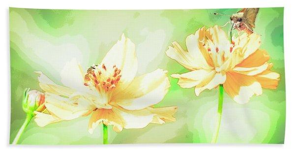 Cosmos Flowers, Bud, Butterfly, Digital Painting Bath Towel