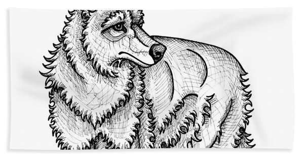 Bath Towel featuring the drawing Coyote by Amy E Fraser