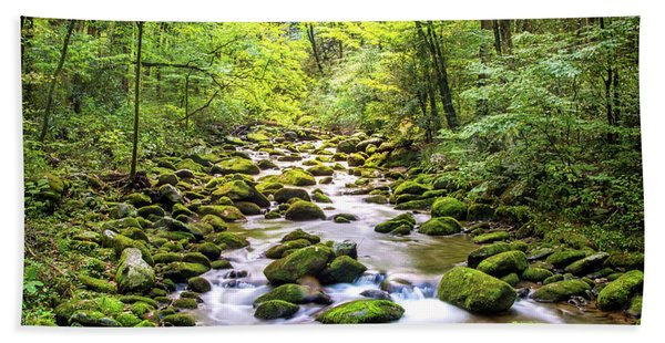 Creek Running Through Roaring Fork In Smoky Mountains Hand Towel