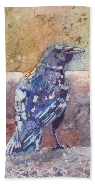 Hand Towel featuring the painting Crow by Ruth Kamenev