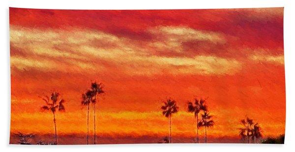 Del Mar Sunset Hand Towel