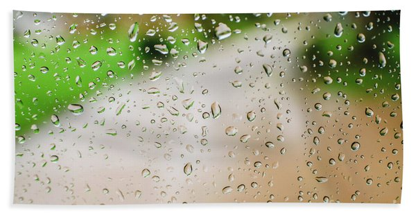 Drops Of Rain On An Autumn Day On A Glass. Hand Towel