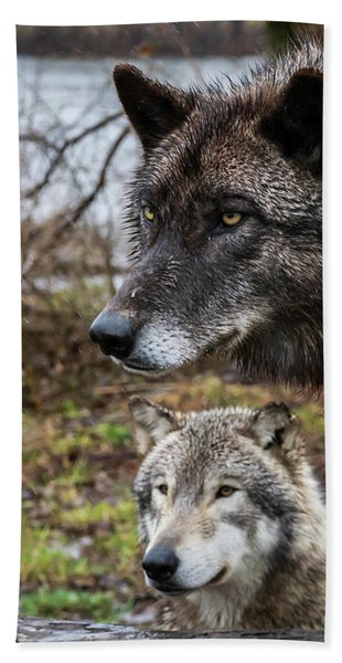 Dual Wolves Hand Towel