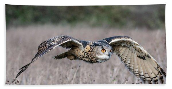 Eurasian Eagle Owl In Flight Hand Towel