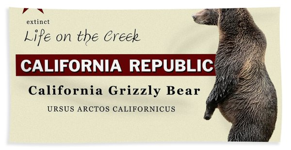 Extinct California Grizzly Bear Hand Towel