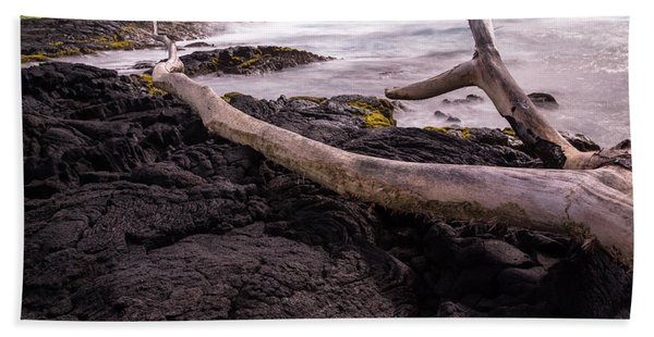 Fallen Tree At Punalu'u Beach Bath Towel