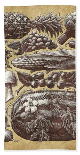 Farmer's Market - Sepia Bath Towel