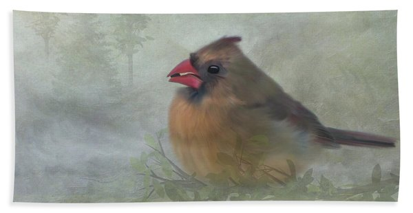 Bath Towel featuring the photograph Female Cardinal With Seed by Patti Deters