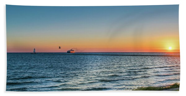 Ferry Going Into Sunset Bath Towel