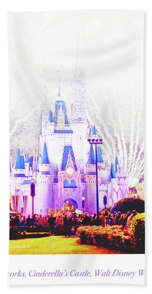 Fireworks, Cinderella's Castle, Magic Kingdom, Walt Disney World Hand Towel