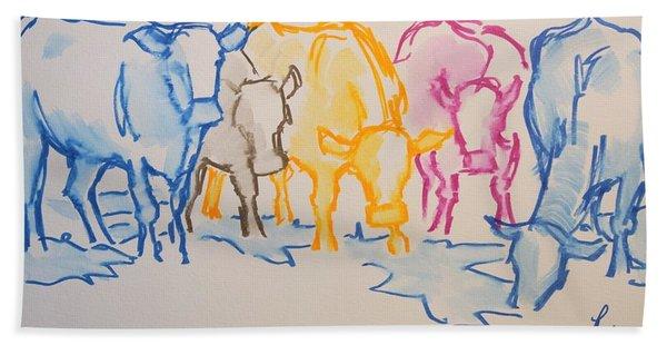 Five Cows Five Colors Watercolor Line Drawing Hand Towel