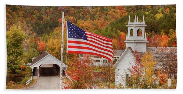 Flag Flying Over The Stark Covered Bridge Hand Towel