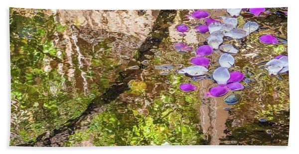 Floating Magnolia Petals Bath Towel