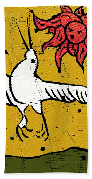 Flying Bird And Red Sun Face Bath Towel