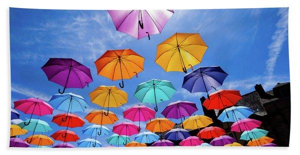 Flying Umbrellas II Hand Towel