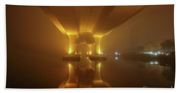Bath Towel featuring the photograph Foggy Bridge Glow by Tom Claud