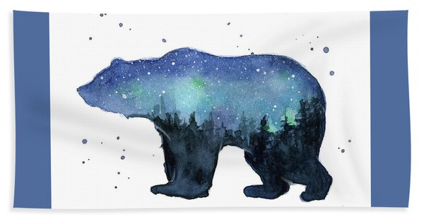 Forest Bear Watercolor Galaxy Hand Towel
