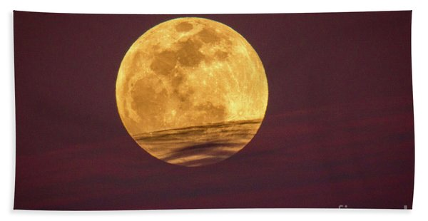 Bath Towel featuring the photograph Full Moon Above Clouds by Tom Claud