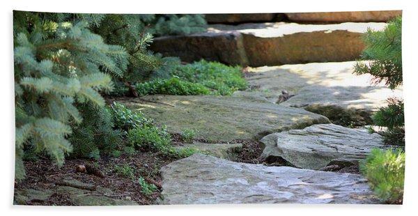 Garden Landscape - Stone Stairs Bath Towel