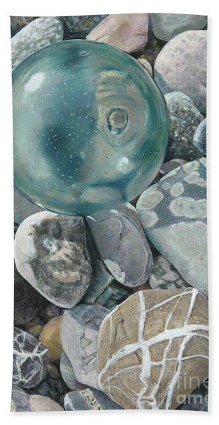 Glass Float And Beach Rocks Hand Towel