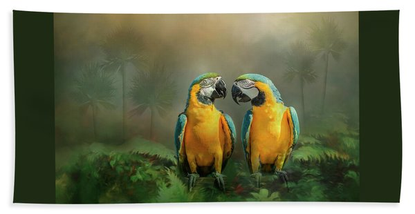 Bath Towel featuring the photograph Gold And Blue Macaw Pair by Patti Deters