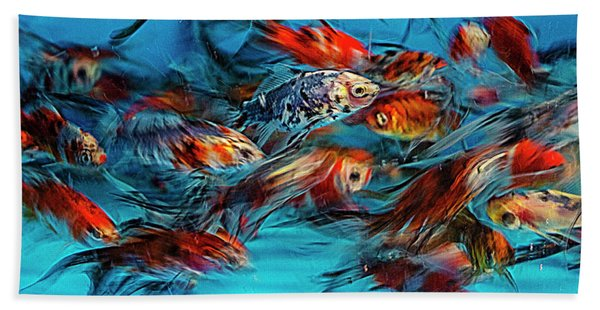 Gold Fish Abstract Hand Towel
