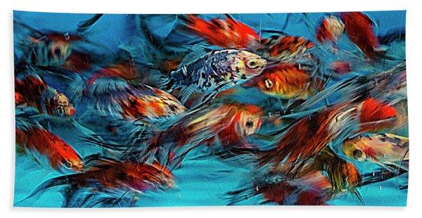 Gold Fish Abstract Bath Towel