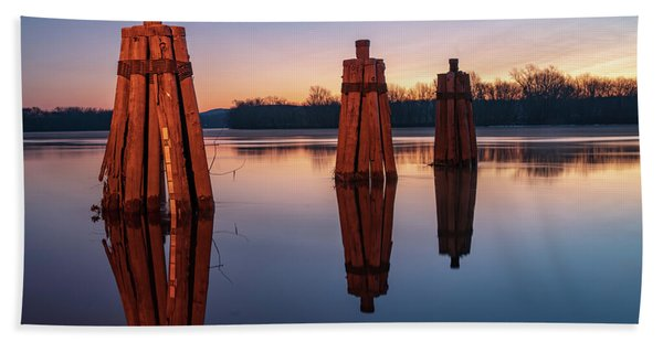 Group Of Three Docking Piles On Connecticut River Hand Towel