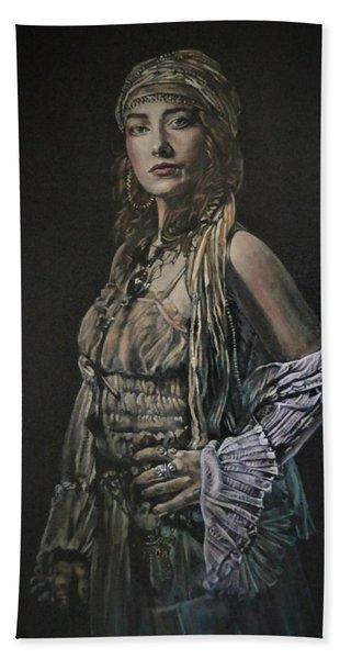 Gypsy Portrait Hand Towel