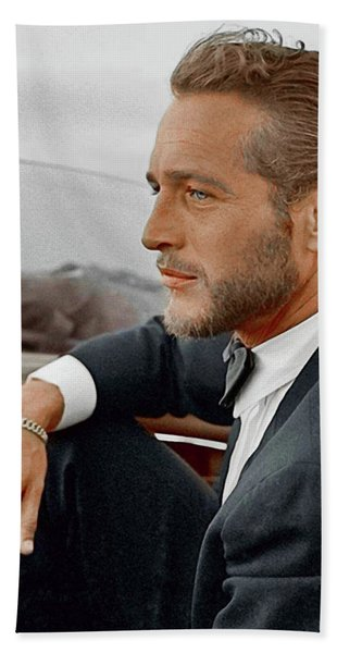 Hand Colored Picture Of Paul Newman Bath Towel