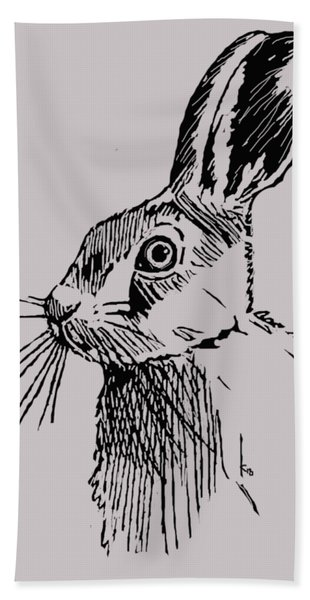 Hare On Burlap Hand Towel