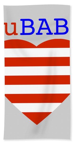 Hearts And Stripes Bath Towel