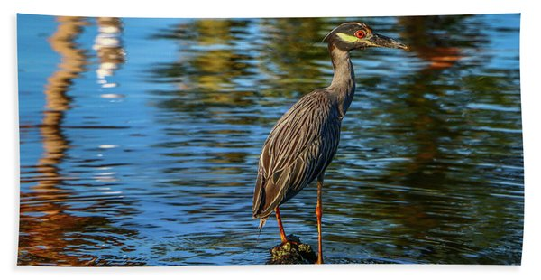 Bath Towel featuring the photograph Heron On Rock by Tom Claud