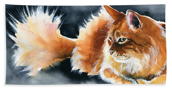 Holy Ginger Fluff - Cat Painting Bath Towel