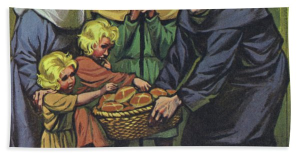 Hot Cross Buns Being Distributed To The Poor At St Albans Abbey On Good Friday 1361 Hand Towel
