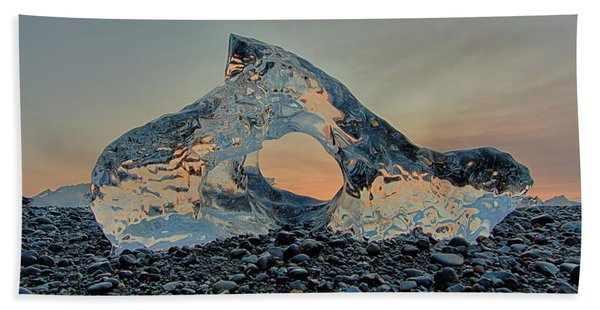 Iceland Diamond Beach Abstract  Ice Bath Towel