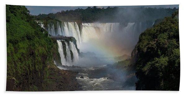 Iguazu Falls With A Rainbow Hand Towel