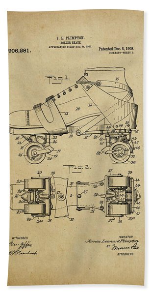 J. L. Plimpton, Roller Skate, Patented Dec.8,1908. Bath Towel