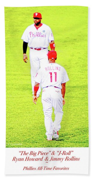 J Roll And The Big Piece, Ryan And Rollins, Phillies Greats Hand Towel